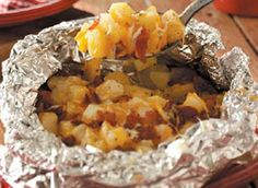 three cheese foil baked potatoes - camping food - campfire recipe