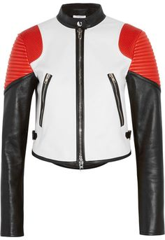 Givenchy - Cropped Color-block Leather Biker Jacket - White