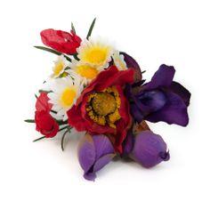 Complementos de flamenca. Ramillete de flamenca de flores silvestres combinando tonos rojos, morados y amarillo.
