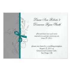 Teal, Gray, and Silver Swirls White Post Wedding #weddings #receptiononly