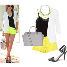 Pinterest Inspired: Polka Dot Shorts in Yellow by shopentourage on Polyvore featuring MANGO, Quiz and MICHAEL Michael Kors.  Amp up your #outfit with a #POP of #color! This everyday #chic look features our #polkadot #shorts in #Yellow.