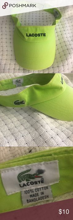 Lacoste cap Lime green hat. Has a few stained areas but still in good conditions. Lacoste Accessories Hats