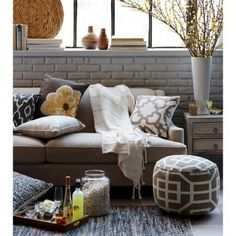 Living Room Inspiration. Layers Of Pillows With Throw And Pouf. #Threshold # Target