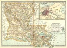 LOUISIANA: Inset New Orleans, 1903 antique map