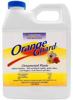 Orange Guard Ornamental Plants Concentrate is guaranteed to provide safe, effective control against a broad range of insects.  It kills and repells aphids, leaf hoppers, scale insects, and more...