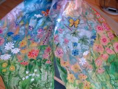 Hand painted silk scarf, 45x180 cm (18x71). Made only by order. There are examples in the pictures as it could be. It can be painted according to your wishes as well. Duriation of the making of this scarf - 3 - 4 days. For more information please contact me.