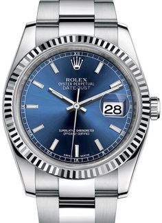 116234 blue dial stick hour markers, Rolex часы Datejust 36 Steel Fluted Bezel Oyster Bracelet
