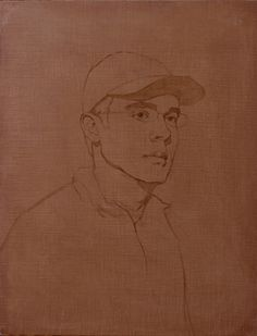 Portrait of Gregg (oil, 26x20) by Adrian Gottlieb, Step 1 burnt umber under-painting as part of Verdaccio Painting Demonstration by Adrian Gottlieb