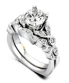 Reminiscent Engagement Ring with Matching Band - Mark Schneider Design