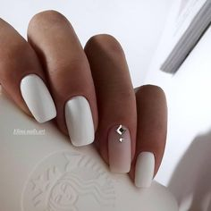 Exact nails, cute fashion nails, delicate wedding nails, long nails, nails for . # for # wedding nails # fashion nails. Nail Polish, Nail Manicure, White Manicure, Matte White Nails, White Nail Art, Long White Nails, Nail Pink, White Polish, Dark Nails