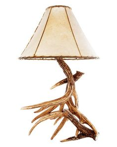 Whitetail Deer Cast Antler lamp by Cast Horn Designs; rusticdecorating.com.