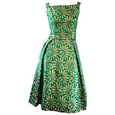 1950s 50s Vintage Blauner for Bonwit Teller Green Gold New Look Silk... ❤ liked on Polyvore featuring dresses, green dress, vintage green dress, silk dress, green cocktail dress and gold dress