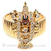 22+Karat+Yellow+Gold+Diamond+Ring+Lord+Balaji+Size+9-0