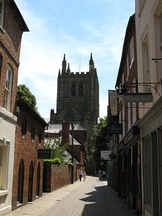 Hereford Cathedral, from Church Street ~ Herefordshire, England Hereford Cathedral, Herefordshire, England Uk, Beautiful Landscapes, Britain, Beautiful Places, Places To Visit, Street, City