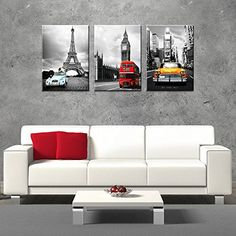 I really like this piece of wall art. It is 3 different pieces than can be used together or separate. CanvasCEO NYC Paris London Eiffel Tower New York City France Europe Big Ben Car Double Decker Red Bus 3 Panel Set Wall Art Decor Canvas Framed Ready to Hang Print Fiberboard (20x14x1