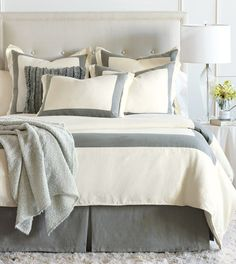 Luxury Bedding by Eastern Accents - BREEZE PEARL/SLATE DUVET COVER