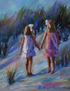 Sisters in the Sand Dunes | Elizabeth Blaylock, American Impressionist