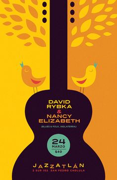 This poster showcases the element, balance. This is as both sides of the poster are symmetrical and the weight of the poster is distributed evenly. The placement of the elements of the poster provides stability and structure to the poster. Jazz Poster, Poster Ads, Typography Poster, Guitar Posters, Jazz Art, Principles Of Design, Design Elements, Beautiful Posters, Festival Posters