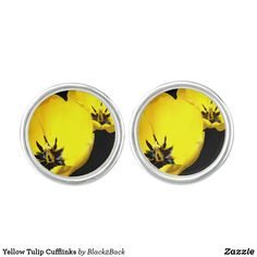 Shop Yellow Tulip Cufflinks created by Personalize it with photos & text or purchase as is!