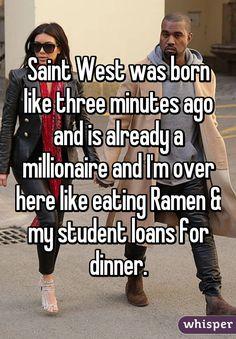 Saint West sounds like a high school with a good football program.