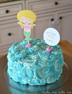 A Mermaid Birthday Cake & Topper (could be made into a pirate or other sea related party theme simply by printing out a different topper | Make Me Cake Me