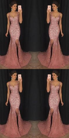 2018 Sexy Mermaid Evening Dresses With Trailing Evening Dress Mermaid, Sexy Evening Dress, 2019 Evening Dress Evening Dresses Sparkly Prom Dresses, V Neck Prom Dresses, Tulle Prom Dress, Sexy Dresses, Formal Dresses, Party Dresses, Elegant Dresses, Pink Sparkly Dress, Dresses Dresses