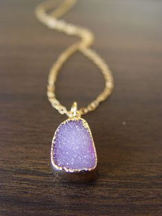 lilac amethyst druzy necklace