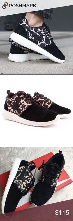 NWT Nike roshe suede floral sneaker Brand new with box  price is firm!!Nike roshe one suede leather and floral pattern very unique sneakers. Nike Shoes Sneakers