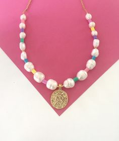 Statement Beaded freshwaterpearl necklace/Colourful bead necklace/bead and pearl necklace/large gold coin/beados style/Boho by Pearlsbymimmi on Etsy Pearl Gemstone, Gemstone Necklace, Pearl Necklace, Beaded Necklace, Beaded Bracelets, Necklaces, Coin Pendant, Gold Coins, Pearl Jewelry