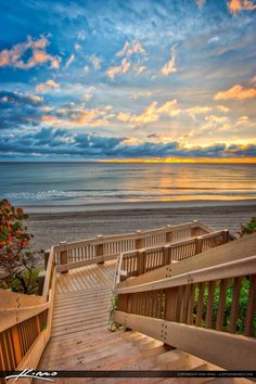 Sunrise from Red Reef Park in Boca Raton Florida with stairs going to the beach…