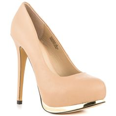 A classic nude pump is perfect for a gorgeous green dress.  These are designed with gold accents around the toe for a little shine.