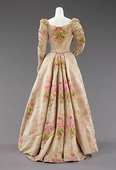 Dress, Evening  House of Worth  (French, 1858–1956)  Designer: Attributed to Charles Frederick Worth (French (born England), Bourne 1825–1895 Paris) Designer: Attributed to Jean-Philippe Worth (French, 1856–1926) Date: ca. 1897 Culture: French Medium: silk, linen Dimensions: Length at CB (a): 16 in. (40.6 cm) Length at CB (b): 52 1/2 in. (133.4 cm)
