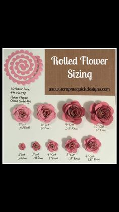 Cricut rolled flower sizing