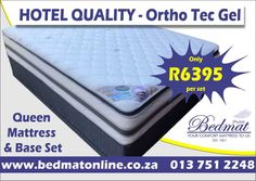 Our orthopaedic gel standard mattress & base set with cool gel-infused memory foam is the perfect ingredient for a great night's rest. Effectively distributing body weight thanks to the world-famous Bonnell dual spring system.  Dimensions: 1520 x 1880 x 310mm -130kg per person -15 years warranty -Soft luxurious circular knit with plush quilting. -Middle and side support to strengthen the mattress -Advances Swiss sleep technology  For a great night's rest contact, Bedmat #bedmat #ortho…