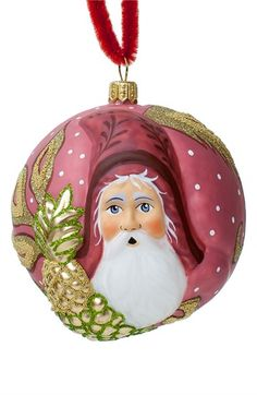 Vaillancourt 'Jingle Ball Santa' Round Ornament available at #Nordstrom