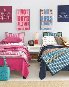 Kids Room Decor: How to Design a Shared Bedroom Boy And Girl Shared Room, Boy Girl Bedroom, Boy Room, Twin Room, Girl Bedding, Unisex Bedroom Kids, Sister Bedroom, Childrens Bedroom, Deco Kids
