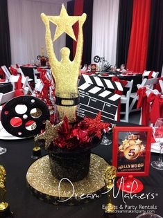 Dream Makers Events & Party Rentals 's Birthday / Hollywood - Photo Gallery at Catch My Party Hollywood Glamour Party, Hollywood Theme, Vintage Hollywood, Hollywood Night, Hollywood Birthday Parties, Red Carpet Party, Prom Themes, Movie Night Party, Birthday Party Centerpieces