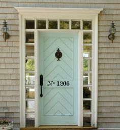 the house numbers AND the door color. this is a good idea if you can see you door from the street, so people can find it