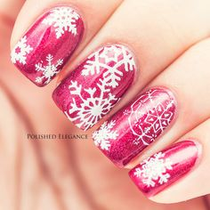 Rose Snowflake Manicure ~ using A-England 'Rose Bower' (2 coats) and snowflakes stamped using MoYou London - Festive Plate #2 and white Konad stamping polish. ~ by Polished Elegance