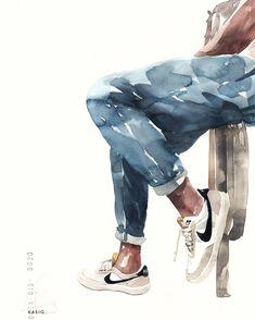 Watercolor Portraits, Watercolor Paintings, Watercolors, Art Aquarelle, Illustration Mode, Illustrations, Watercolor Techniques, Art Sketchbook, Aesthetic Art