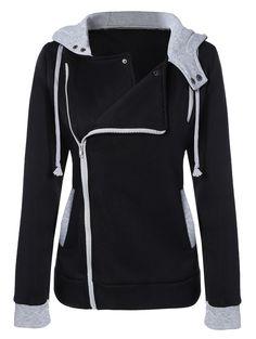 Pocket Oblique Zipper Slim Fit Hoodie Jacket in Black | Sammydress.com