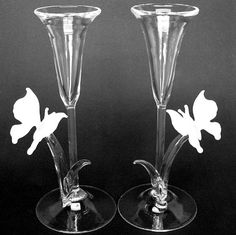 Butterfly Champagne Flutes Crystal Toasting by ProchaskaGallery, $149.50
