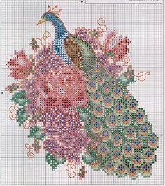 Cross-stitch Pretty Peacocks, part 2...  color chart on part 4 & 5...   Flashup