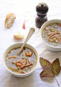 green lentil soup with crisp bacon