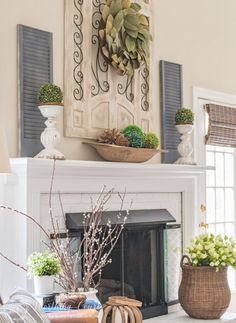 Here's What I Know About Spring Decor Living Room Fireplace Mantels - Pecansthomedecor Fireplace Hearth Decor, Vintage Fireplace, Living Room With Fireplace, My Living Room, Living Room Decor, Fireplace Ideas, Mantle Ideas, Fireplace Garden, Stove Fireplace