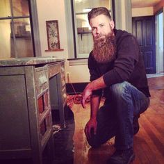 The Bearded One - Jeff VanGogh - repairing an Army Desk for Lady Cleo. Happy Veterans Day from Maestro's Classic.