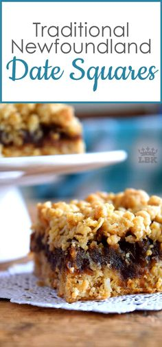Jump to Recipe Print RecipeNewfoundland Date Squares are a traditional Newfoundland treat! Slightly sweet, with a crumbly topping, and a soft, chewy center, perfect for an afternoon snack with a cup of hot tea! Date Squares and Newfoundland go hand… Date Recipes Desserts, Köstliche Desserts, Baking Recipes, Cookie Recipes, Delicious Desserts, Recipes With Dates, Desserts With Dates, Bar Recipes, Recipies