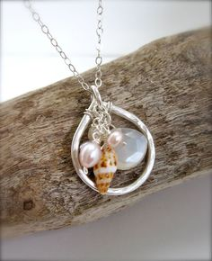 Hawaiian shell necklace - sterling silver necklace with moonstone and pearls, unique shell jewelry made in Hawaii by Tidepools Jewelry