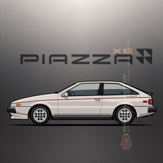 Isuzu Piazza / Impulse / Holden Piazza (1980-1990) – Illustration of a first generation Isuzu Piazza liftback coupé, designed by Giorgetto Giugiaro ©2016 Tom Mayer, Monkey Crisis On Mars – All Rights Reserved