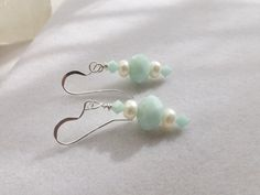 Mint Green Glass and Pearl Drop Dangle Earrings by Sparklesalot2, $6.50